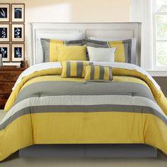 Yellow Oversized Bedroom Bedding Luxury Queen King Size 8 Piece Comforter Set #Contemporary