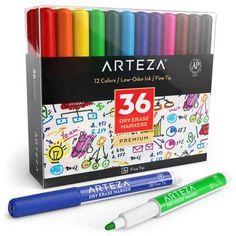 ARTEZA Bol/ígrafos de purpurina en tinta de gel Pack de 14 bol/ígrafos rotuladores de colores brillantes Tintas de gel de colores vivos Ideales para pintar mandalas