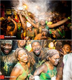 Happy smiling people celebrating J'ouvert in Trinidad - this traditional event takes place on 'Carnival Monday' – two days before Ash Wednesday.
