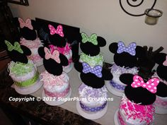 Minnie Mouse Diaper Cake Minis  Baby shower or birthday by 661kara, $8.00