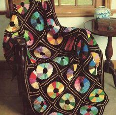 Colour Wheel Afghan Vintage Retro craftsy.com