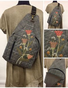 Pin by Marta on Art One Strap Backpack, Backpack Bags, Patchwork Bags, Quilted Bag, Japanese Bag, Sewing To Sell, Backpack Pattern, Embroidery Bags, Fabric Bags