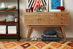From One King's Lane, love the angle of the credenza legs
