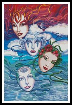 Cross Stitch Craze: Cross Stitch Fire and Fantasy  earth, wind, water and fire masks