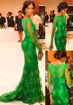 Sour apple green lace mermaid dress from Diyanu - Ankara Dresses, Shirts & Nigerian Dress Styles, Nigerian Wedding Dress, African Lace Dresses, African Fashion Dresses, Evening Dresses, Prom Dresses, Dress Prom, Mermaid Dresses, Modest Dresses