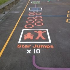 Playground Markings - Circuits Tracks and Trails - Fitness Trail Exercises On Site Playground Painting, Playground Games, Outdoor Playground, Recess Games, Pe Games, Pe Activities, Movement Activities, Outdoor School, Outdoor Classroom
