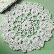 """Pattern featured in the book """"Irish Lace Doilies"""" published by Annie's attic. Designed by Ferosa HaroldIrish Rose Splendor doily from Ravelry.Irish lace crochet Ferosa Harold-I made this for Adam's old girlfriend. she acted like she didn't know Thread Crochet, Filet Crochet, Crochet Motif, Crochet Stitches, Knit Crochet, Irish Crochet Patterns, Doily Patterns, Crochet Designs, Knitting Patterns"""