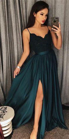 princess long prom dress, 2018 prom dress, straps dark green long prom dress, graduation dress, prom dress with side slit