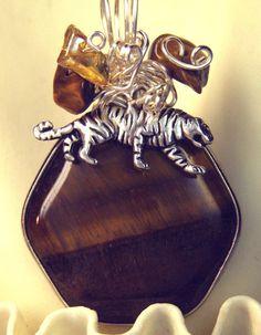 Handmade TIGER Pendant Handmade Wire Wrap Tiger Eye by Texaswoman, $16.99