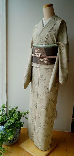 【袷】越後伝統紬と縮緬麻の葉なごや帯 #kimono #きもの | ちぇらうなぼるた雑記帳