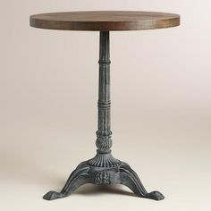 Metal And Wood French Bistro Accent Table