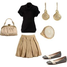 pretty skirt and flats outfit