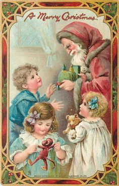 A MERRY CHRISTMAS  purple robed Santa gives toy engine to boy, two other children front