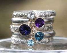Birthstone Stacking Ring Family & Mother's Ring 5 by sherisdesigns, $220.00