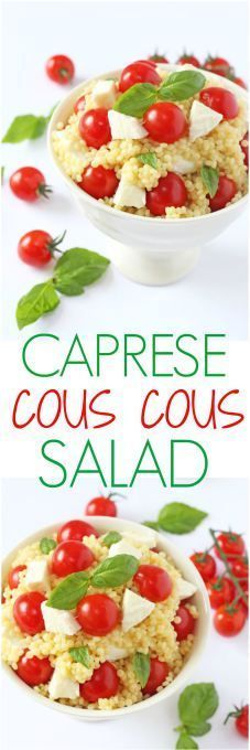 salad recipe made with giant cous cous, mozzarella, cherry tomatoes ...