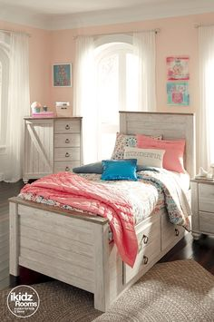Looking for the perfect bedroom oasis? Think vintage-inspired white wood finishes with bright pops of pink and blue. Mix and match accessories for an effortless bedroom suite! iKidz Rooms #iKidzRooms - Teen, Youth and Kids Bedroom Ideas - Girl Bedroom Styles