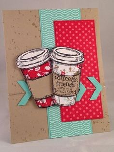 Stampin Up! Perfect Blend Coffee Cup Card - original design by Kathryn Kunchick stampinwithpassion.blogspot.com
