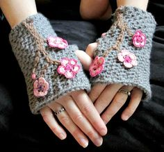 #CROCHET #PATTERN Charming Cherry Blossom Fingerless Mitts Toddler-Adult XL - pinned by pin4etsy.com #handmade #mmmakers