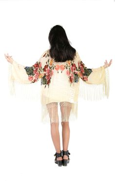 Light Yellow Floral Velvet Burnout Gypsy Fringe Beaded Kimono Jacket