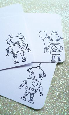 robot friends stationary  12 notecards w/ by RaleighWoodTreasures, $3.65