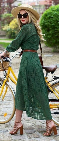 #bestof #instagram #turninghead #spring #outfitideas | Romantic Green Eyelet Maxi Dress | Atlantic Pacific Source