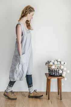 FREE SHIPPING! Thanks giving apron! Square cross linen apron/pinafore/Japanese apron. Washed silver long apron.