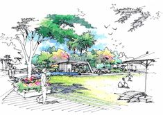 Landscape Architecture Drawing, Garden Projects, World, Drawings, Painting, Sketch, Beautiful, Marker, Architects