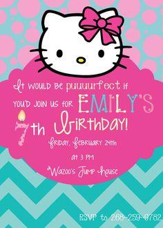 Hello Kitty Birthday Invitations Best Of Hello Kitty Birthday Invitation Hello Kitty Birthday Theme, Hello Kitty Birthday Invitations, Hello Kitty Themes, Birthday Invitation Templates, 4th Birthday Parties, 5th Birthday, Birthday Ideas, Cat Party, Party Time