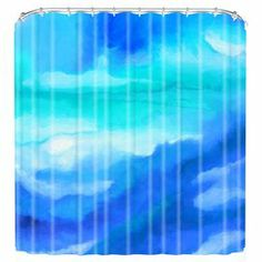 """Bring serene style to your master bath with this woven shower curtain, showcasing an abstract motif in a soothing blue palette. Made in the USA.  Product: Shower curtainConstruction Material: Woven polyesterColor: Blue and aquaFeatures:  Buttonhole openingsMade in the USADesigned by Jacqueline Maldonado for DENY Designs Dimensions: 69"""" H x 72"""" WNote: Shower rings not includedCleaning and Care: Machine wash cold, tumble dry. Use of liner is recommended."""