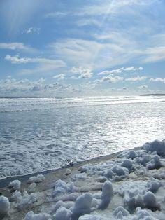 Snow On The Beach. York Beach, Maine.