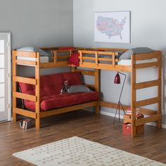 Woodcrest Heartland Futon Bunk Bed with Extra Loft - Honey Pine - Think outside the bed. The Woodcrest Heartland Futon Bunk Bed with Extra Loft makes space where there once was none! Its double loft, L-shape configur. Futon Bunk Bed, Bunk Bed With Desk, Loft Bunk Beds, Modern Bunk Beds, Bunk Beds With Stairs, Kids Bunk Beds, Bedroom Modern, Ikea Loft Bed Full, Bed Mattress