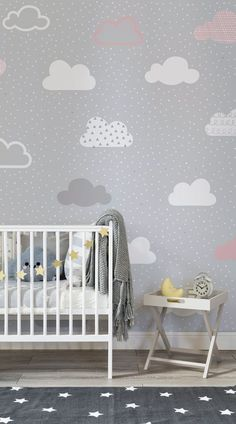 baby wallpaper Effortlessly chic, this nursery space balances neutral greys with lively pops of golden yellow. Illustrated clouds drift along in this beautiful wallpaper design. Its a timeless pattern that will look just as stylish for years to come. Baby Wallpaper, Cloud Wallpaper, Pattern Wallpaper, Wallpaper Ideas, Painted Wallpaper, Wallpaper Designs, Baby Girl Nursery Wallpaper, Baby Room Design, Nursery Design