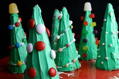 Ice cream cone Christmas trees.  I made these with a Head Start classroom of 3-5 year olds.  Looking forward to trying them with my own kids!