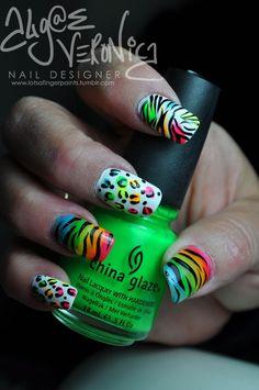 Neon animal print nails by Algae Veronica