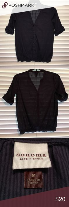 Cute navy pinstripe top Sonoma top with elastic waistline. Very figure flattering and easy to wear. Super cute with jeans or shorts. Lightweight cotton. Sonoma Tops Blouses