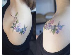 Lovely, cool blues and lilac colored floral on small delicate branch shoulder and collarbone tattoo.