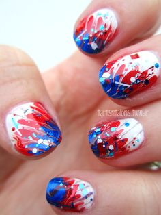 Great for July 4th~!  Red, white and blue nail art. Ku?!?