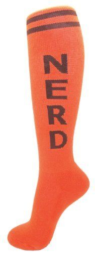 """Nerd Unisex Socks - Orange by Gumball Poodle. $12.49. Inspired by classic '70s tube socks, our Nerd Socks come in orange or purple (THIS PAIR IS ORANGE) and have stripes around the top and NERD spelled down each calf. Design is woven in, not screenprinted.  Unisex design fits most - women's shoe size 7 - men's 13. Socks reach to the knee on persons 5'2"""" - 6'2"""" (so they'll be over-the-knee socks on petite folks and mid-calf height on big birds).   Made in the U.S.A. of 75% cotto..."""