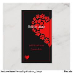 Pet Love Heart Vertical Business Card Holiday Cards, Christmas Cards, Vertical Business Cards, Business Names, Christmas Card Holders, Hand Sanitizer, Business Card Design, Love Heart, Keep It Cleaner