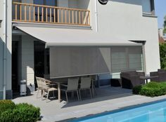 Some Retractable Awnings are designed with a front Retractable Screen Valance that can be lowered for added sun control and shading comfort. Drop Screen Awnings are great for south and western exposures.