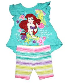 Disney Little Mermaid Ariel Baby Girl T Shirt & Stripe Bike Short - Aqua Blue Disney Little Mermaids, Ariel The Little Mermaid, Disney Girls, Baby Disney, Disney Baby Clothes, Cute Baby Clothes, Disney Outfits, Babies Clothes, Toddler Girl Outfits