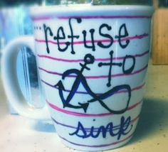 DIY coffee mug! Colored sharpies and a coffee mug... 350 degrees for 30 minutes turn oven off and let cool