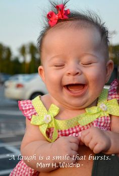 "So adorable cute baby laughing and smiling ""A laugh is a smile that bursts."" Mary H. Waldrip - quotes Love this! Cute happy baby photo"