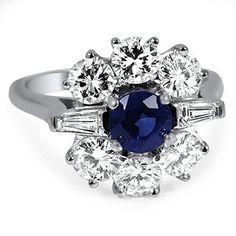 Platinum The Pari Ring, 1950's sapphire