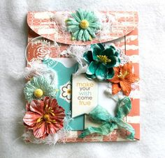 Card by Juliana Montoya for Prima using the Pocket Book Pad collection by Leeza Gibbons. Scrapbook Paper Flowers, Pocket Envelopes, Art Cards, Cardmaking, Crafting, Scrapbooking, Gift Wrapping, Make It Yourself, Tags