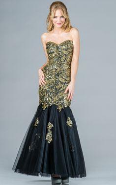 Gold/Black Mermaid Prom Dress