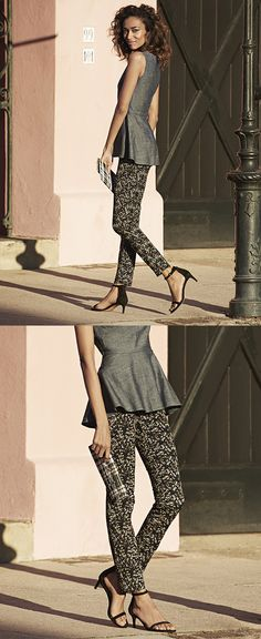 Our Sloan fit ankle pant in figure-sculpting stretch is now even better in our ultra figure flattering cut. Pair this stylish pant with a modern peplum top and sandals for a chic desk to dinner look | Banana Republic