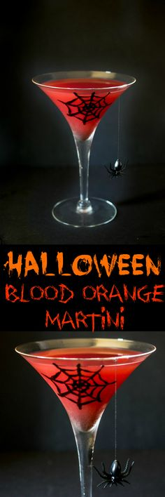 Halloween blood orange martini. Lemon vodka, fresh blood orange juice, triple sec. A perfectly spooky Halloween cocktail with a mocktail option.
