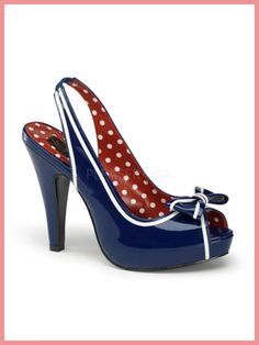 love these shoes!!     Pinup Couture Navy Blue Patent Slingback Platform Heels w/Bow Accent
