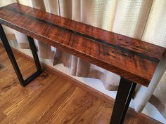 Reclaimed wood sofa table. Industrial sofa table. Industrial console table. Wood and steel table. Industrial media stand. Office table.